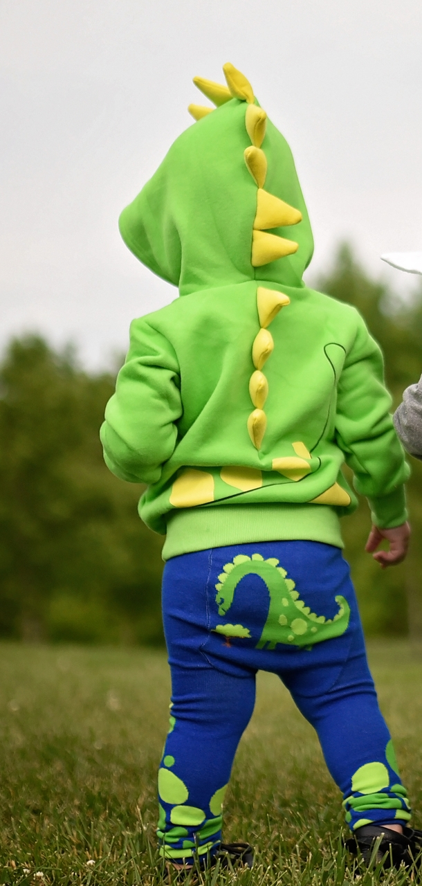 Green Dino Hoodie With Horns