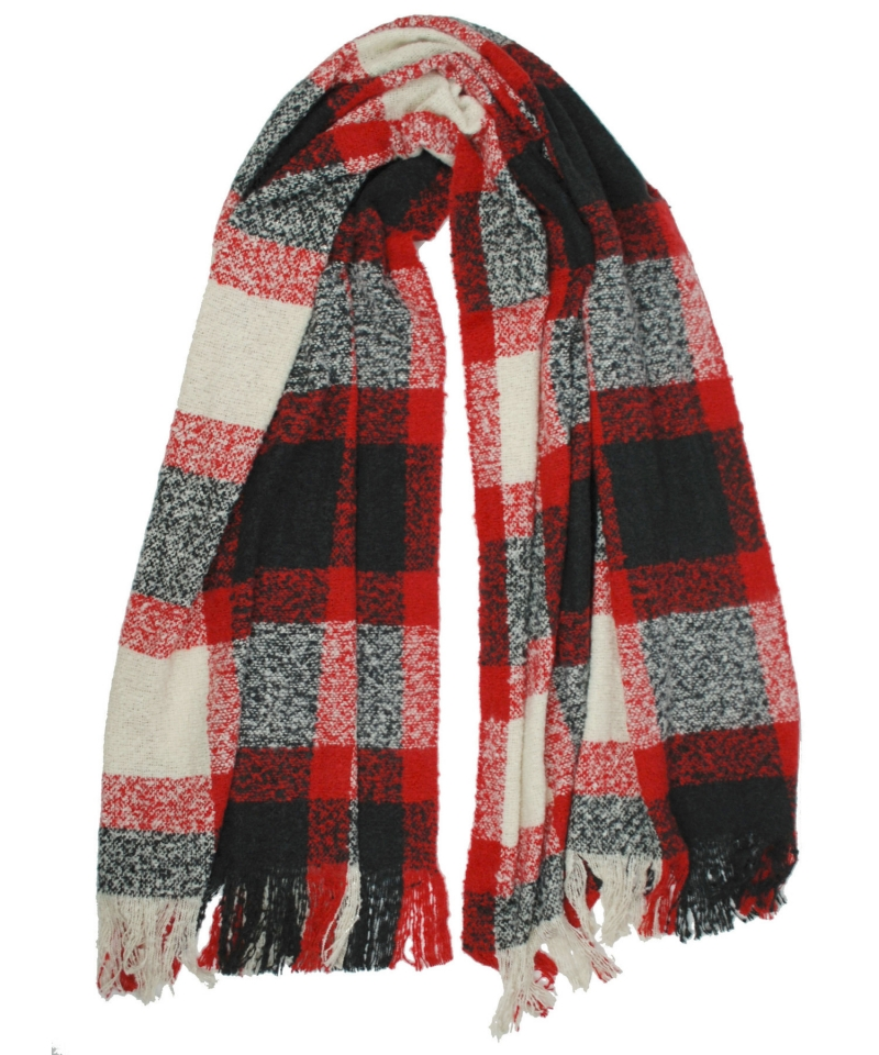 Women's Boucle Plaid Wrap