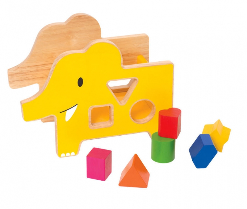 Wood Elephant Shape Sorter