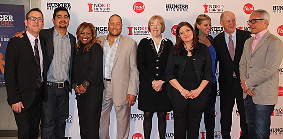 From left to right: Tim Allen, Aaron Sanchez, Gine Neely, Pat Neely, Brook Johnson, Alex Guarnaschelli, Amanda Freitag, Bill Shore and Geoffrey Zakarian.